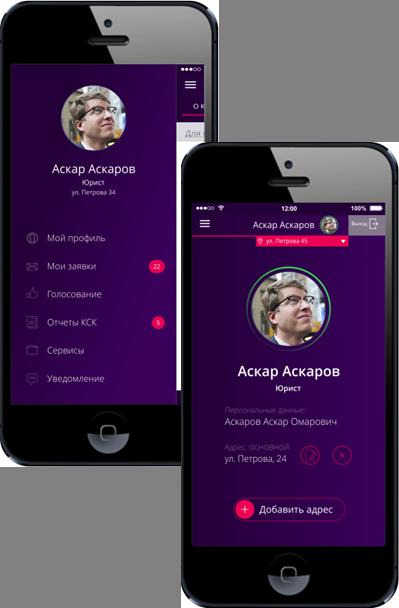 Скриншот личного кабинета мобильной версии е-КСК